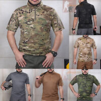 Mens Military Tactical T-Shirt Short Sleeve Combat Shirts Multicam Camouflage