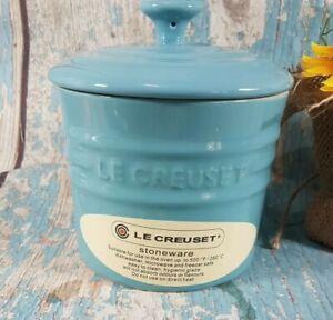 LE CREUSET Storage Jar0.8L Stoneware Pot + lid Teal Oven/Microwave/Freezer Safe