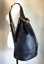 Gucci LARGE Black Leather Bamboo Backpack Handbag  Unisex Sling Book Travel Bag