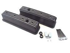 Chevy 350 383 Tall Alum Finned Center Bolt Vortec Valve Cover Black E41021bk
