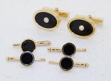 Tiffany & Co. 18K gold .20CTW VS1/F diamond/onyx cufflink & shirt stud set w/box