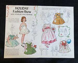 1961, Holiday Fashion Show Paper Dolls, Vogue Pattern Series,Jack & Jill Mag