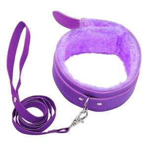 Purple Up Leather Soft Furry Neck Collar Choker with Leash Slave Lover Restraint