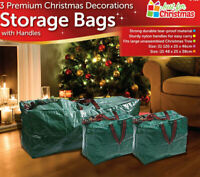 3 X Large Christmas Storage Zip Bags Tree, Decorations, Lights With Handles