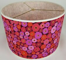 "NEW Drum Lamp Shade 15"" Dia 10"" H Contemporary Red Purple Dots Fabric"