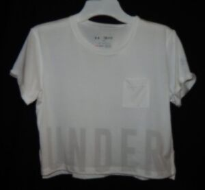 Under Armour Girls HeatGear Studio Cropped Tee White SS YSM New With Tags
