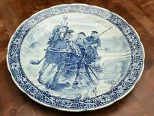 """15"""" Cabinet Wall Charger Platter Boch Delft Blue White Large Dish Horse Sleigh"""