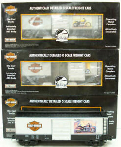 MTH 20-90173 O Harley Davidson Premier Box Car Set (Set of 3) LN/Box