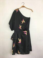 TBAGS LA Short Sleeve One Shoulder Satin Bird Print Mini Dress Black M $215 B7