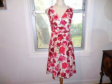Talbots lovely roses empire waist flared lined dress sz 12
