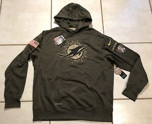 NWT NIKE Miami Dolphins SALUTE TO SERVICE 2015 NFL Pullover Hoodie Men's 2XL