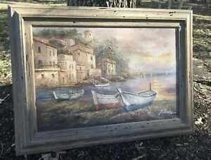Huge Antonio Oil Painting Nautical Scene Aged Looking Wooden Frame 33 x 45
