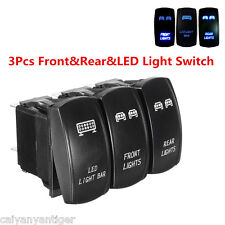 3× Blue Rocker Switch 5-Pin Front&Rear&LED Light Switch On/Off For Car Boat UTV