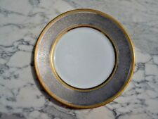 Assiette porcelaine incrustation Or & Platine signée Raynaud Limoges France