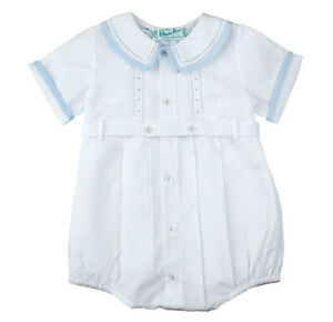 Feltman Brothers Infant Boys White & Blue Belted Romper NWT, 3m, 6m, 9m