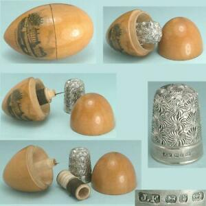 Antique Mauchline Ware Thimble Egg / Sewing Kit *  1891 Sterling Silver Thimble