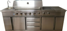 New 3 in 1 Stainless Steel Outdoor BBQ Kitchen Island Grill Propane LPG w/ SINK