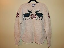 Polo Ralph Lauren Mens Hand Knit Fair Isle Reindeer Sweater sz XL 100% Wool EUC