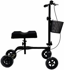 New Black Steerable Foldable Knee Walker Scooter Turning Brake Basket Drive Cart