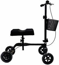 New Black Steerable Foldable Knee Walker Scooter Turning Brake Basket Drive Cart