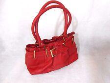 Women Red Hand Bag 2 Straps Real Leather Zip Hompton Size Medium