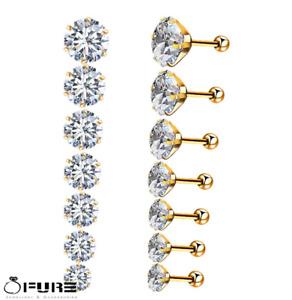 Women Men Ball Screwback Stainless Steel Diamond Cut Silver Gold Stud Earrings
