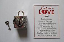 dd I love you LOCKED IN LOVE box lock key charm Ganz Together Forever treasure
