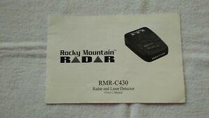 Rocky Mountain Radar RMR C430 Owner's Manual Free Ship