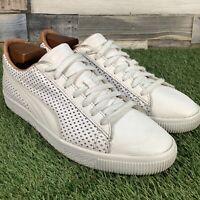 UK8 Puma Clyde Colorblock 2 Luxury White Tan Leather Trainers - Rare - EU42