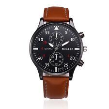 Men's Luxury Retro Design Leather Band Analog Alloy Quartz Casual Wrist Watch AU Blue