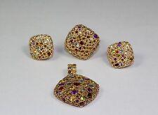 14k Rose Gold Blue Green Purple Red Gemstones Earrings, Pendant and Ring Set