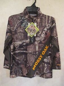 NWT Boys MOSSY OAK L 10-12 Long Sleeve Wicking Scent Camouflage Hunting Shirt