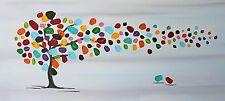 Gemälde Acryl Leinwand Dekoration Baum Keilrahmen bunt painting abstrakt art