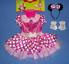DISNEY MINNIE MOUSE COSTUME DRESS DELUXE 3T-4T;HEADBAND W/EARS;GLOVES;NEW LOT-3