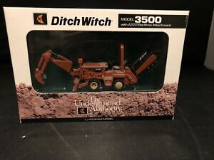 1:43 SCALE DIECAST DITCH WITCH MODEL 3500 WITH A222 BACKHOE