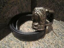 KIESELSTEIN CORD STERLING BULLDOG BUCKLE AND BLACK LEATHER BELT