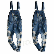 Mens Denim Straight Pants Overall Ripped Hole Jumpsuits Suspender Trousers Jeans