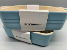 """LE CREUSET- Poterie Square Baking Dish-Set of 2, Blue 5"""" Freezer to Oven-NEW"""