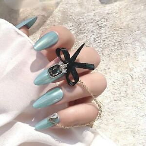 Long Stiletto Fake Nails With Rhinestones Press On Nails Artificial False Nails