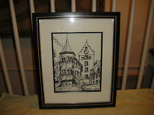 Superb Charcoal Drawing Of Old Buildings In Village-Framed & Signed-Lovely