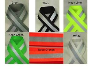 "7/8"" Reflective Glo Grosgrain Ribbon- 1/4"" 3M Silver Reflective Stripe"