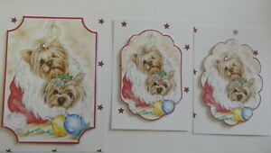PK 3 BEAUTIFUL 3D XMAS YORKIES TOPPER EMBELLISHMENTS FOR CARDS OR CRAFTS
