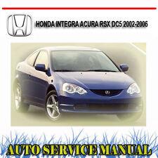 HONDA INTEGRA ACURA RSX DC5 2002-2006 SERVICE REPAIR MANUAL ~ DVD