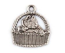 Free shipping 40PCS Tibetan Silver art Crafts basket cat Charms Pendants 17*15mm