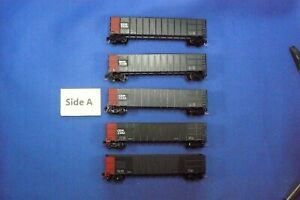 Roundhouse N scale Coalliner Hoppers.  5 units with MT's.  Weathered.   USED