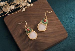 Natural Jade Cloisonne Earrings Drop Dangle Ear Hook 24K Gold Plated