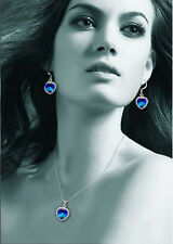 JP 1Set Heart Of Ocean Royal Blue Crystal Jewlery Drop Earring Necklace Ring