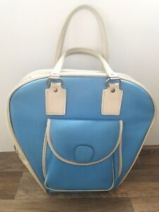 Vintage 1950's Bowling Bag Baby Blue and Pink Color Empty Faux Leather