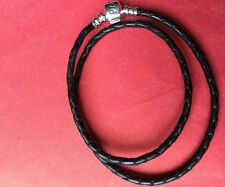 Pandora double black leather bracelet 35cm long