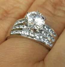 2.85 Ct 14k white Gold Solitaire round man made diamond Engagement Ring siz 7 8